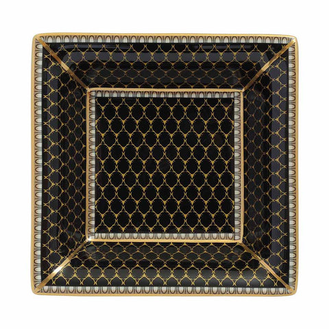 English Fine Bone China | Trinket Tray | Antler Trellis | Square | Black | Halcyon Days | Made in England