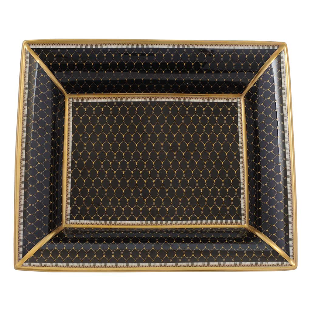 Halcyon Days Antler Trellis Trinket Tray in Black, Rectangular-Bone China-Sterling-and-Burke