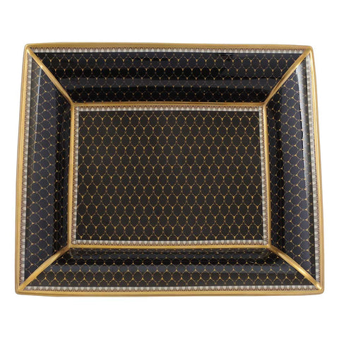 Halcyon Days Antler Trellis Trinket Tray in Black, Rectangular