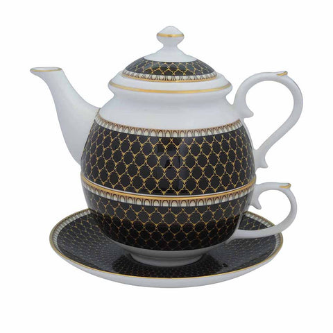 Fine English Bone China | Tea for One | Antler Trellis | Black | Halcyon Days | Made in England