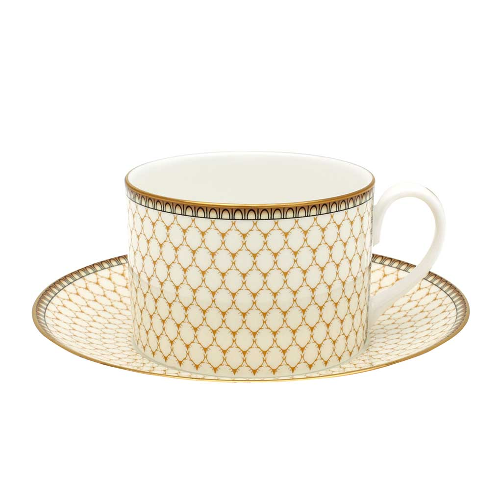 English Fine Bone China | Teacup and Saucer | Antler Trellis | Ivory |  Halcyon Days | Made in England