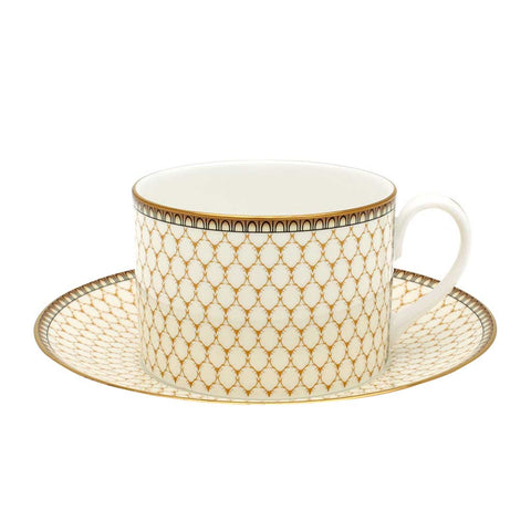 Fine English Bone China | Teacup and Saucer | Antler Trellis | Ivory | Halcyon Days