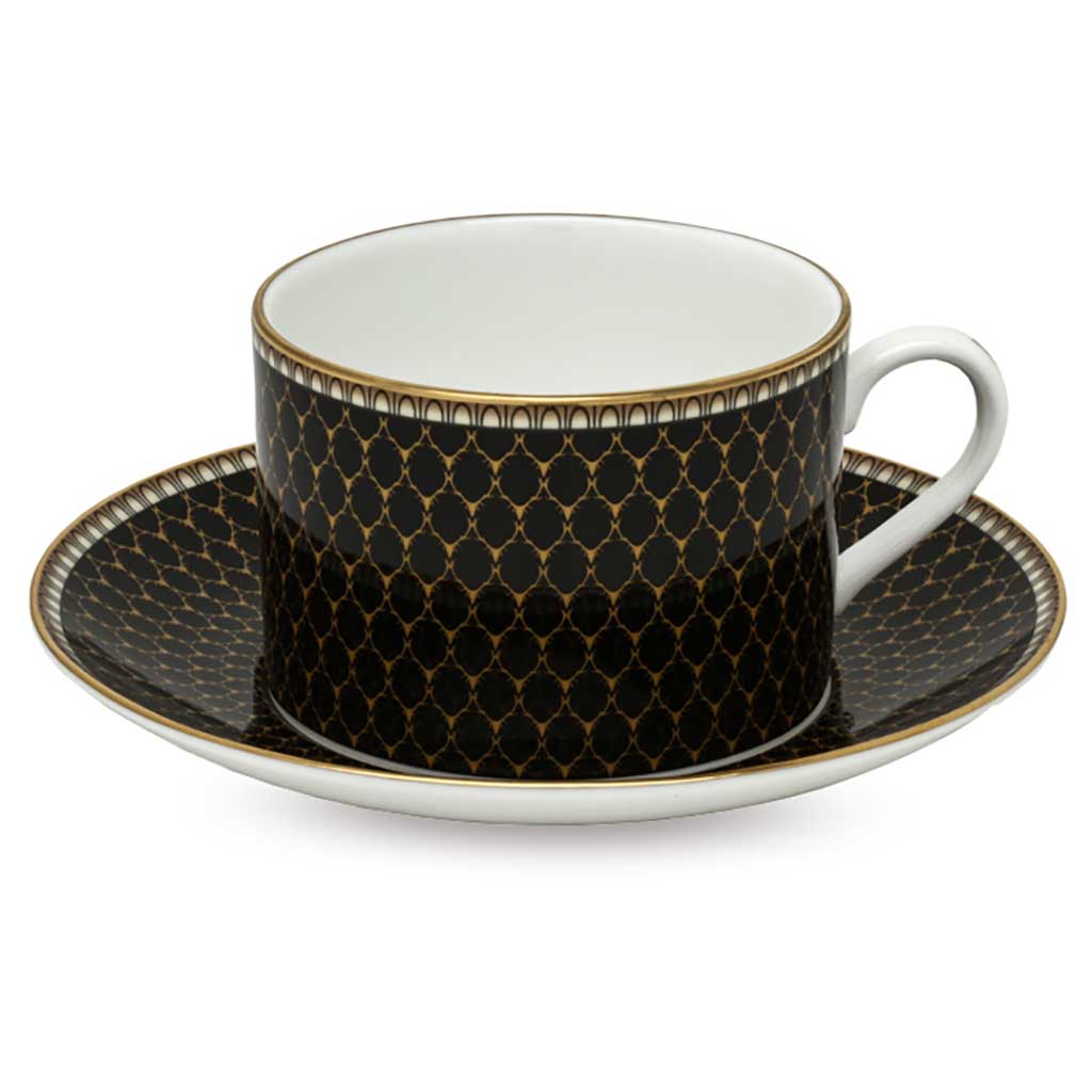 Fine English Bone China | Teacup and Saucer | Antler Trellis | Black | Halcyon Days | Made in England-Tea Set-Sterling-and-Burke