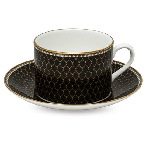 Fine English Bone China | Teacup and Saucer | Antler Trellis | Black | Halcyon Days | Made in England
