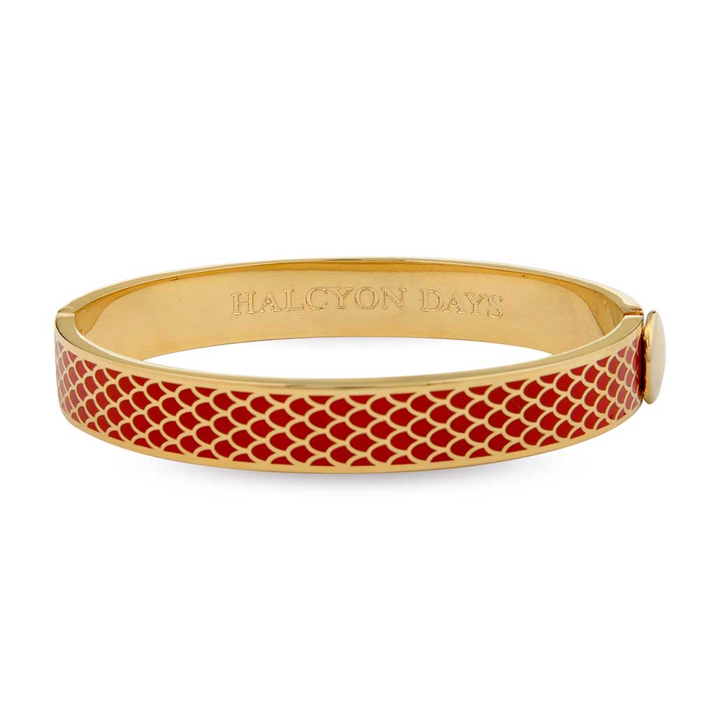 Enamel Bangle | 1cm Salamander Hinged Red and Gold Bangle | Halcyon Days | Made in England-Bangle-Sterling-and-Burke