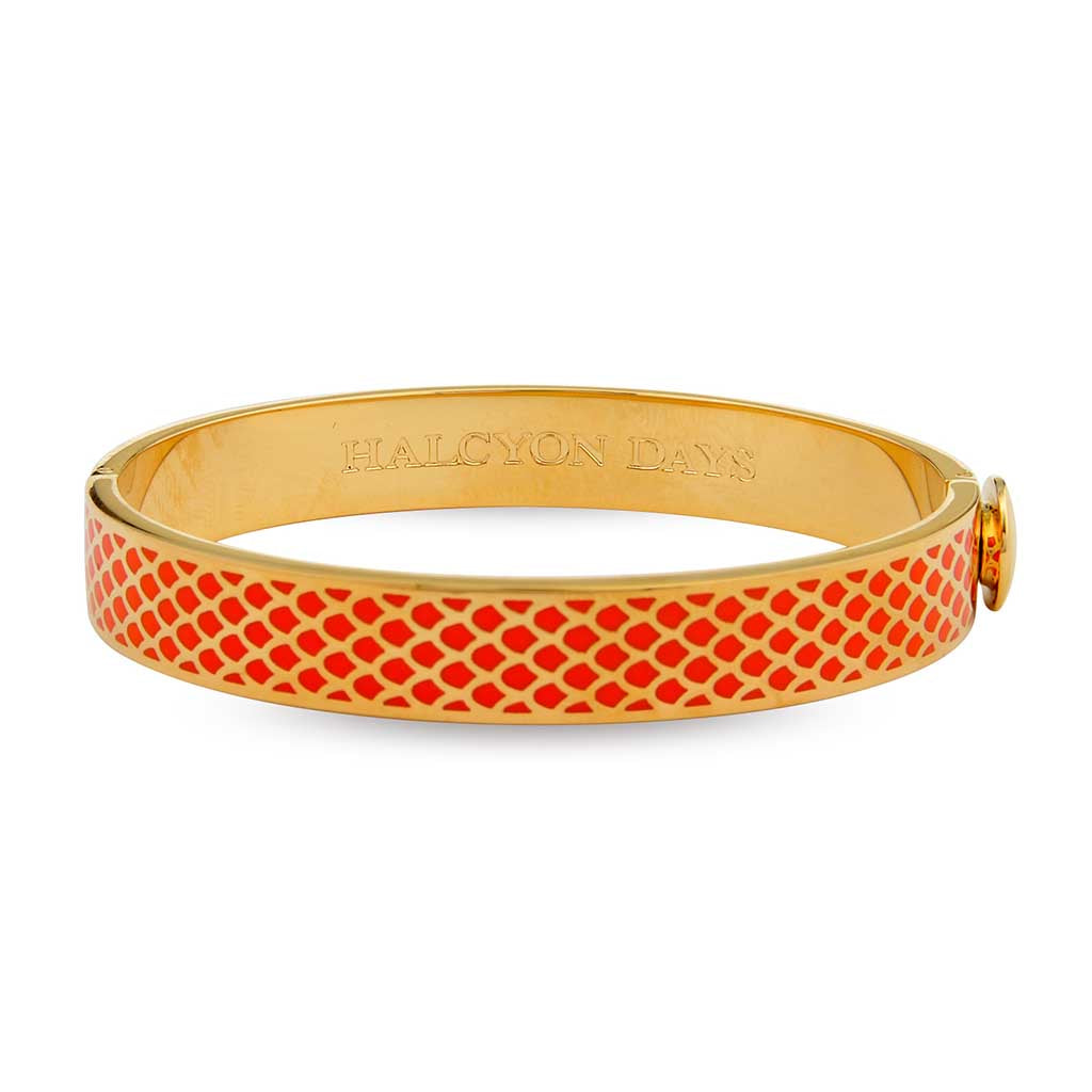 Halcyon Days 1cm Salamander Hinged Enamel Bangle in Orange and Gold-Jewelry-Sterling-and-Burke