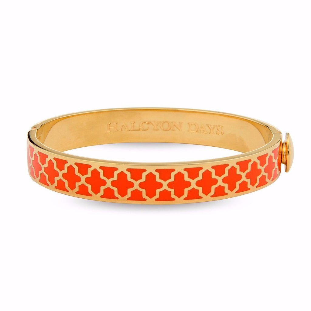 Enamel Bangle | 1cm Agama Hinged Orange and Gold Bangle | Halcyon Days | Made in England-Bangle-Sterling-and-Burke