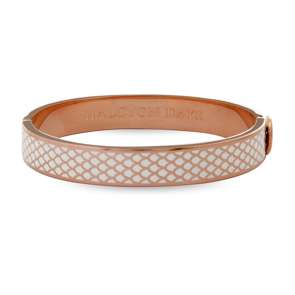 Enamel Bangle | 1cm Salamander Hinged Cream and Rose Gold Bangle | Halcyon Days | Made in England-Bangle-Sterling-and-Burke
