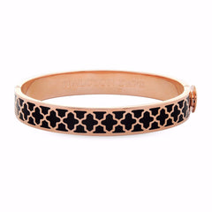 Enamel Bangle | 1cm Agama Hinged Bangle | Black and Rose Gold | Halcyon Days | Made in England-Bangle-Sterling-and-Burke