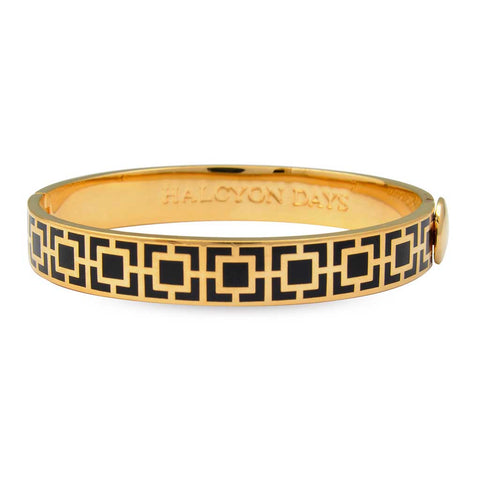 Enamel Bangle | 10mm Mosaic Hinged Bangle | Black and Gold | Halcyon Days | Made in England