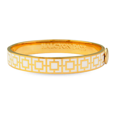 Enamel Bangle | 10mm Mosaic Hinged Bangle | Cream and Gold | Halcyon Days | Made in England