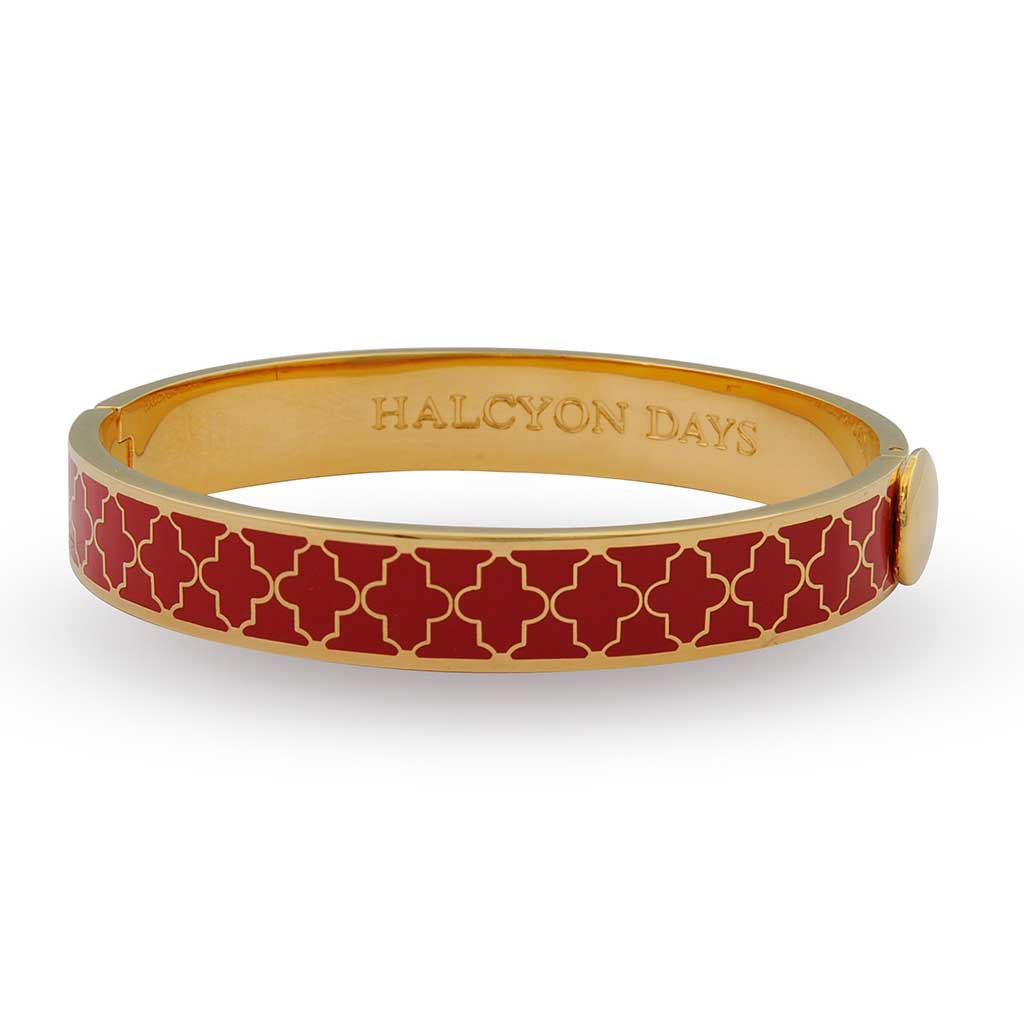 Halcyon Days 1cm Agama Hinged Enamel Bangle in Red and Gold-Jewelry-Sterling-and-Burke