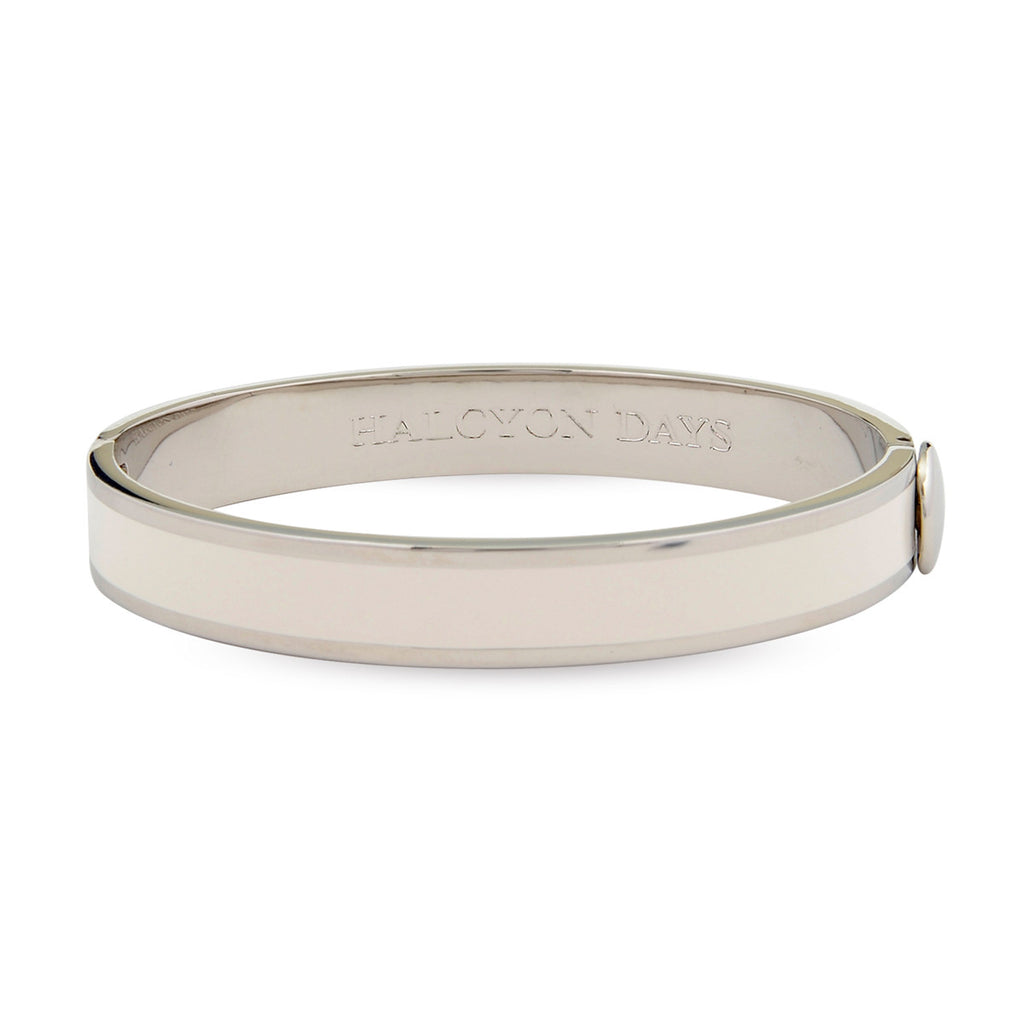 Plain Hinged Bangle, Cream & Palladium-Bangle-Sterling-and-Burke