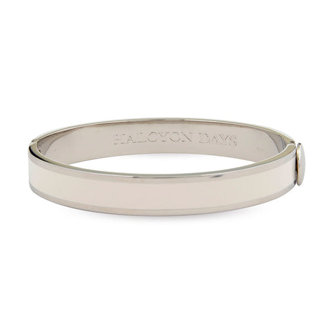 Plain Hinged Bangle, Cream & Palladium