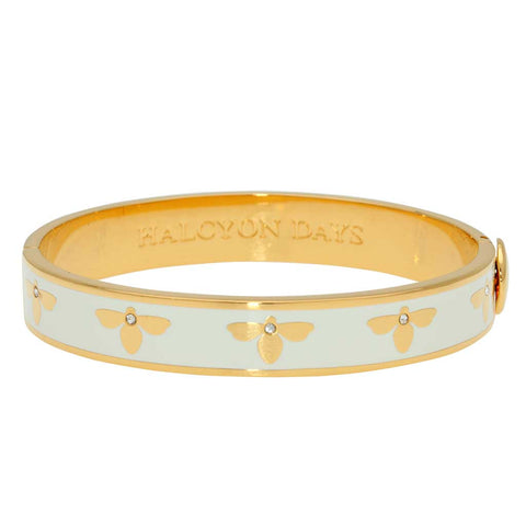 Enamel Bangle | 1cm Bee Sparkle Hinged Bangle | Cream and Gold | Halcyon Days | Made in England-Bangle-Sterling-and-Burke