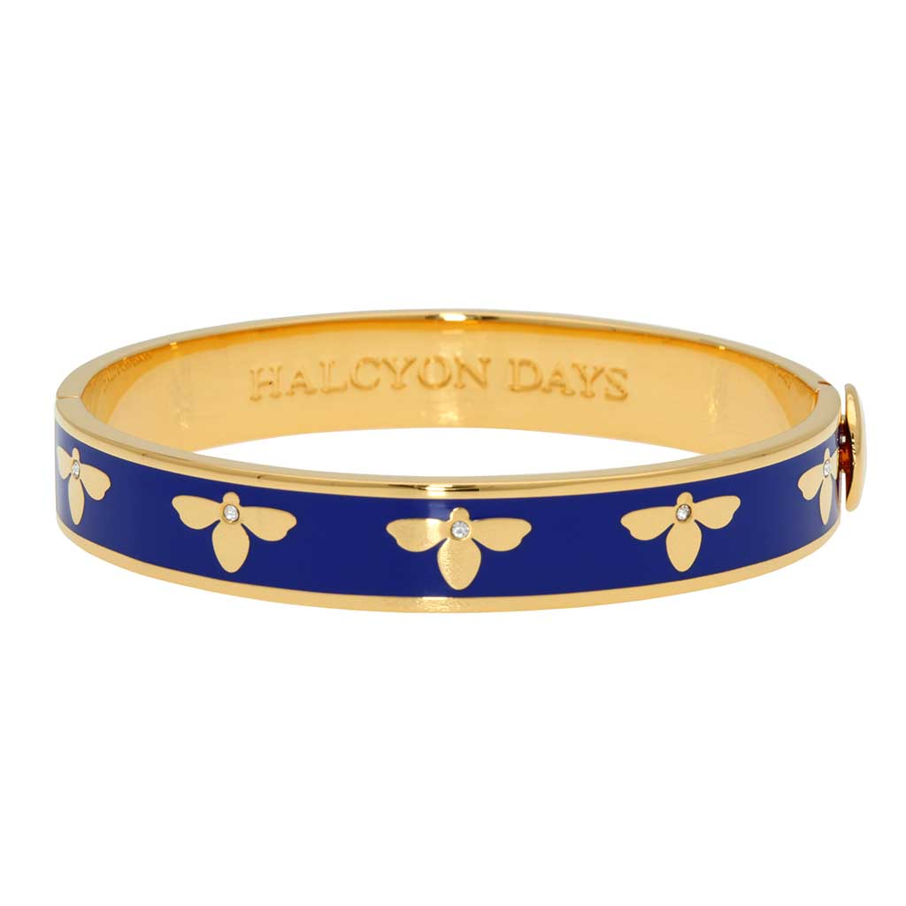 Halcyon Days 1cm Bee Sparkle Hinged Enamel Bangle in Deep Cobalt and Gold-Jewelry-Sterling-and-Burke