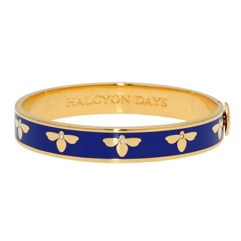 Enamel Bangle | 1cm Bee Sparkle Hinged Bangle | Deep Cobalt and Gold | Halcyon Days | Made in England-Bangle-Sterling-and-Burke