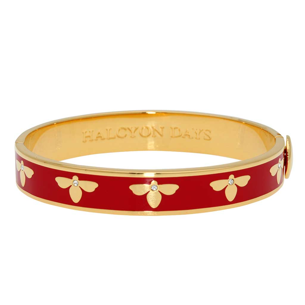 Enamel Bangle | 1cm Bee Sparkle Hinged Bangle | Red and Gold | Halcyon Days | Made in England-Bangle-Sterling-and-Burke