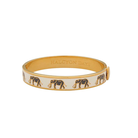 Enamel Bangle | Elephant Motif Hinged Cream and Gold Bangle | Halcyon Days | Made in England-Bangle-Sterling-and-Burke