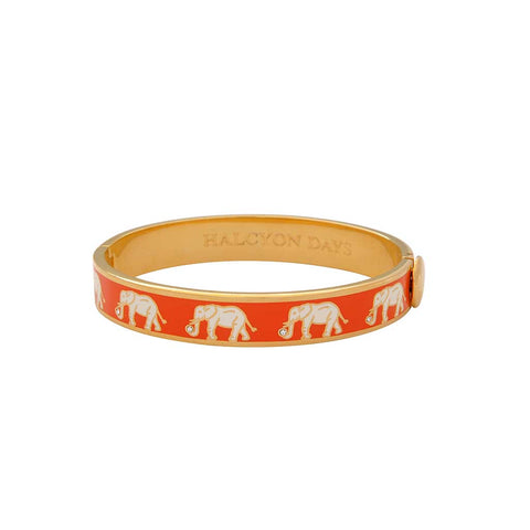 Halcyon Days 1cm Elephant Motif Hinged Enamel Bangle in Orange and Gold