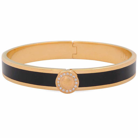 Halcyon Days 1cm Sparkle Button Hinged Enamel Bangle in Black and Gold-Jewelry-Sterling-and-Burke
