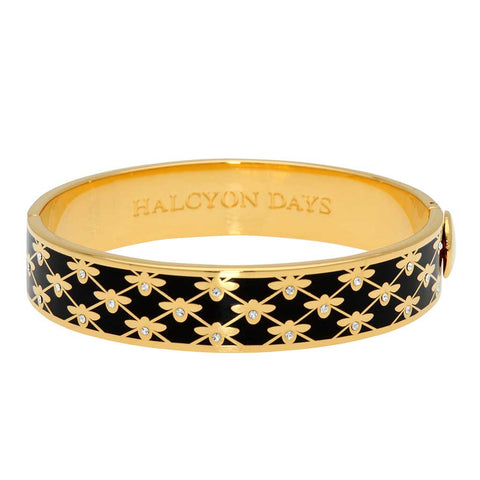 Enamel Bangle | 13mm Bee Sparkle Trellis Hinged Bangle | Black and Gold | Halcyon Days | Made in England