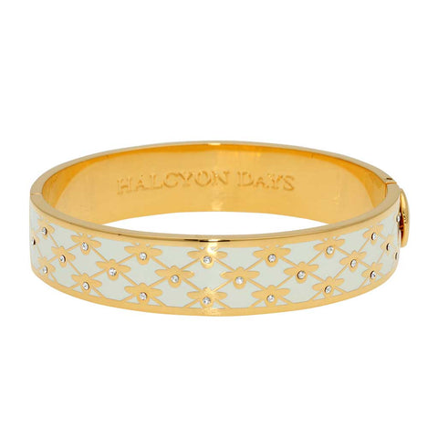 Enamel Bangle | 13mm Bee Sparkle Trellis Hinged Bangle | Cream and Gold | Halcyon Days | Made in England