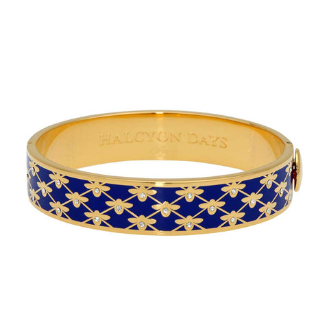 Enamel Bangle | 13mm Bee Sparkle Trellis Hinged Bangle | Cobalt Blue and Gold | Halcyon Days | Made in England