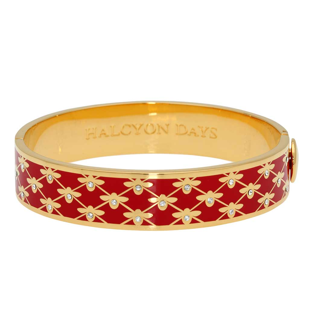 Enamel Bangle | 13mm Bee Sparkle Trellis Hinged Bangle | Red and Gold | Halcyon Days | Made in England-Bangle-Sterling-and-Burke