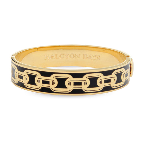 Halcyon Days 13mm Chain Hinged Bangle in Black and Gold | Sterling & Burke