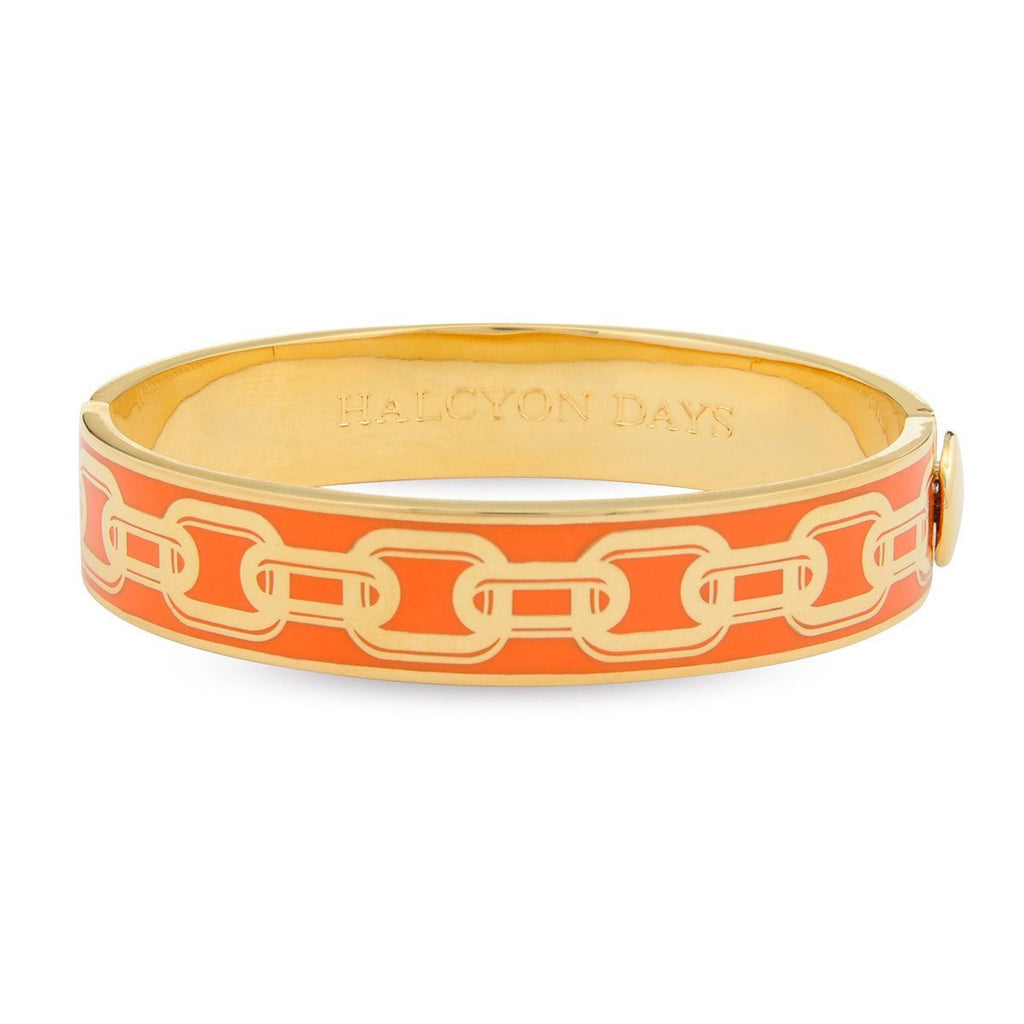 Enamel Bangle | 13mm Chain Hinged Bangle | Orange and Gold | Halcyon Days | Made in England-Bangle-Sterling-and-Burke