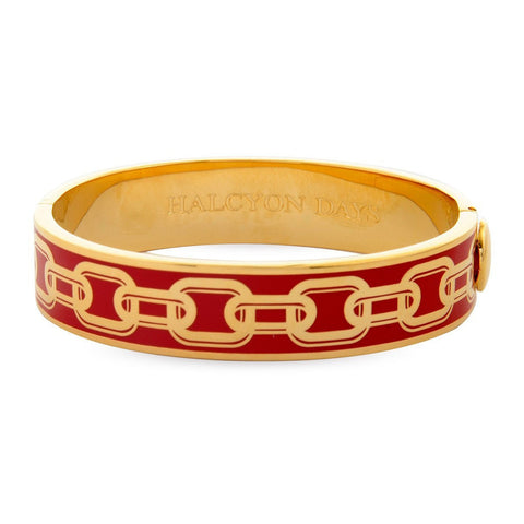 Enamel Bangle | 13mm Chain Hinged Bangle | Red and Gold | Halcyon Days | Made in England