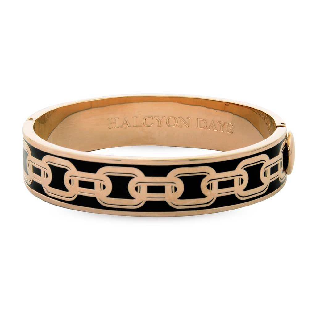 Chain Hinged Bangle, Black and Rose Gold | Halcyon Days | Made in England-Bangle-Sterling-and-Burke