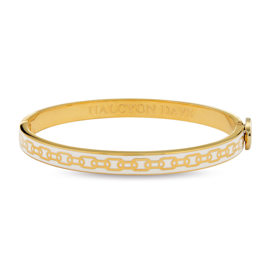 Halcyon Days 6mm Skinny Chain Hinged Enamel Bangle in Cream and Gold-Jewelry-Sterling-and-Burke