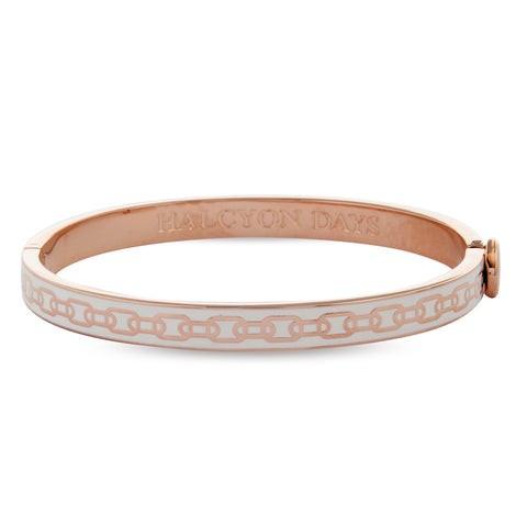 Enamel Bangle | Skinny Chain Hinged Cream and Rose Gold Bangle | Halcyon Days | Made in England-Bangle-Sterling-and-Burke