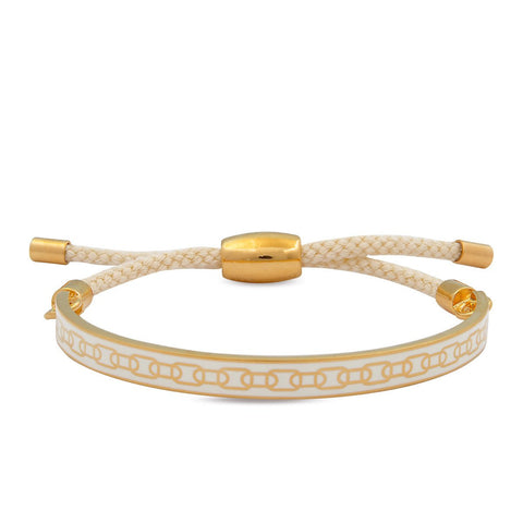 Skinny Chain Friendship Bangle, Cream & Gold