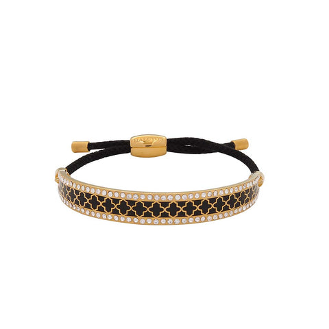 Enamel Bangle | Agama Sparkle Friendship Bangle, Black and Gold | Halcyon Days | Made in England-Bangle-Sterling-and-Burke