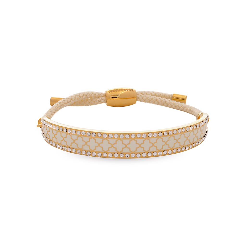 Halcyon Days 1cm Agama Sparkle Friendship Enamel Bangle in Cream and Gold-Jewelry-Sterling-and-Burke