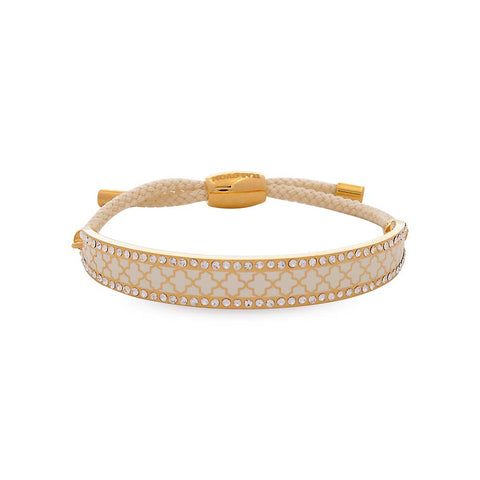Halcyon Days 1cm Agama Sparkle Friendship Bangle in Cream and Gold | Sterling & Burke