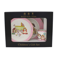 "Halcyon Days ""Toys from the Nursery"" Baby Girl 3-Piece Dining Set-Bone China-Sterling-and-Burke"