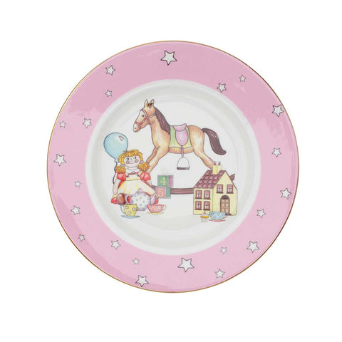 "Fine English Bone China | Baby Girl 3-Piece Set | ""Toys from the Nursery"" Collection 