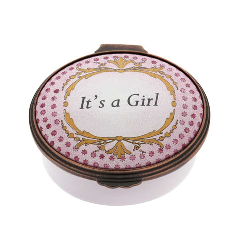 Enamel Box | 'It's a Girl' Box | Halcyon Days | Made in England