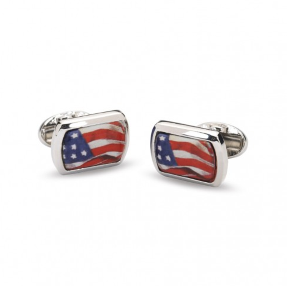 Halcyon Days American Flag Enamel Cufflinks in Palladium-Enamel Cufflinks-Sterling-and-Burke