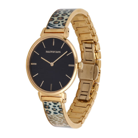Animal Print Bangle Strap Watch | Black and Gold | Halcyon Days | Made in England