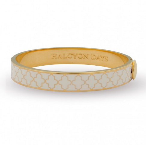 Enamel Bangle | 1cm Agama Hinged Cream and Gold Bangle | Halcyon Days | Made in England-Bangle-Sterling-and-Burke