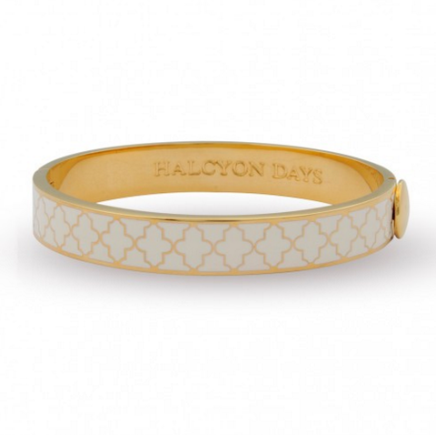 Enamel Bangle | 1cm Agama Hinged Bangle | Cream and Gold | Halcyon Days | Made in England