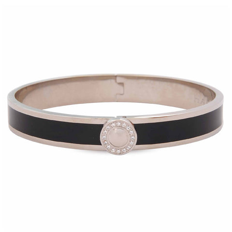 Enamel Bangle | Sparkle Button Plain Hinged Black and Palladium Bangle | Halcyon Days | Made in England-Bangle-Sterling-and-Burke