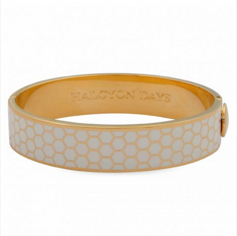 Enamel Bangle | 13mm Honeycomb Hinged Bangle | Cream and Gold | Halcyon Days | Made in England