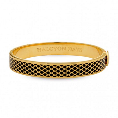 Halcyon Days 1cm Salamander Hinged Enamel Bangle in Black and Gold