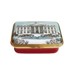 Christmas Enamels | White House in the Snow Christmas Enamel Box | Happy Christmas | Merry Christmas | Holiday Decoration | Holiday and Winter Enamels Decoration | Halcyon Days | Made in England-Enamel Box-Sterling-and-Burke